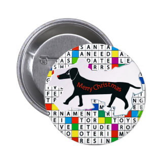 Pinback Button with Dog, Crossword & Xmas Theme