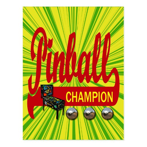 Pinball Champion Post Card
