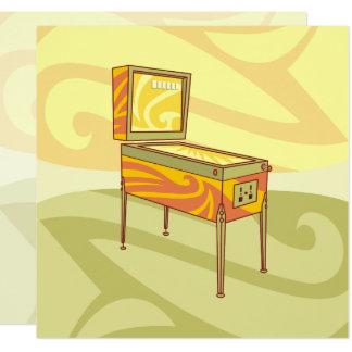 Pinball machine 13 cm x 13 cm square invitation card