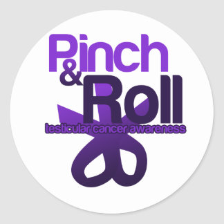 Pinch and Roll for Testicular Cancer Awareness Round Sticker