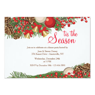 Pine and Berries Holiday Invitation