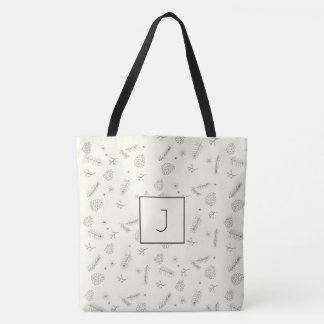 Pine and Berries Pen Ink  Monogram Tote Bag
