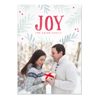 Pine and Berry Joy Holiday Photo Card 13 Cm X 18 Cm Invitation Card