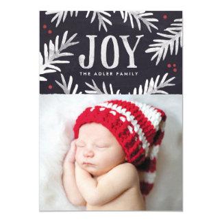 Pine and Berry Joy Holiday Photo Card 13 Cm X 18 Cm Invitation Card