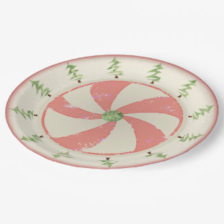 Pine and Peppermint 9 Inch Paper Plate