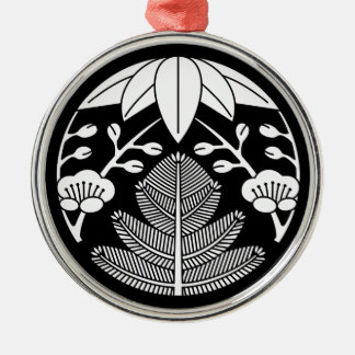 Pine,bamboo leaves,ume Silver-Colored round decoration
