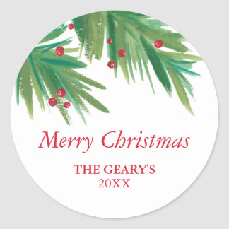 Pine & Berries Watercolor | 2016 Chrismas Classic Round Sticker