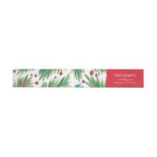 Pine & Berries Watercolor | 2016 Chrismas Return Wrap Around Label