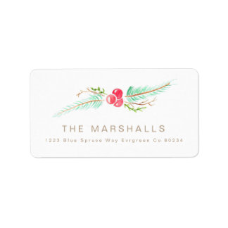Pine & Berry | Watercolor Holiday Address Label