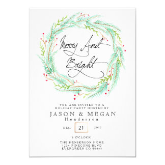 Pine & Berry | Watercolor Holiday Party Invite