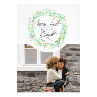 Pine & Berry | Watercolor Holiday Photo 13 Cm X 18 Cm Invitation Card