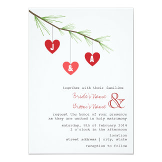 Pine Bough & Hearts Wedding Invitation