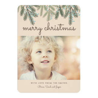 Pine Bough Merry Christmas Holiday Photo Card 13 Cm X 18 Cm Invitation Card