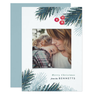 Pine Boughs and Berries Christmas Photo Card 13 Cm X 18 Cm Invitation Card