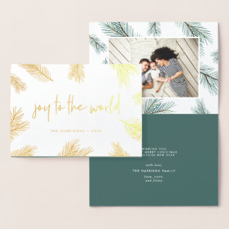 Pine Boughs | Holiday Photo Gold Foil Card