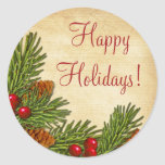 Pine Boughs Holly Berries Xmas Christmas Round Sticker