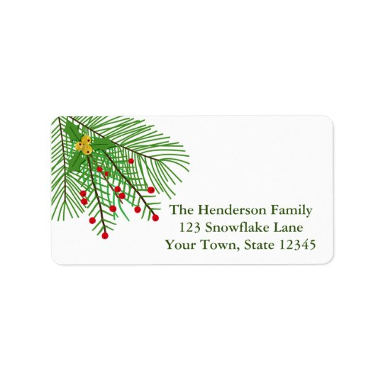 Pine Branch and Berries Holiday Address Label