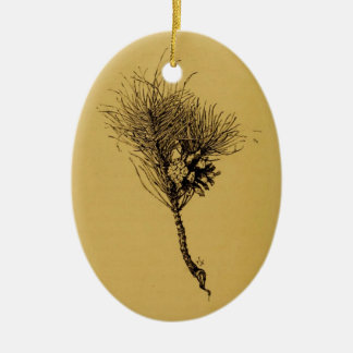 pine branch ceramic oval decoration