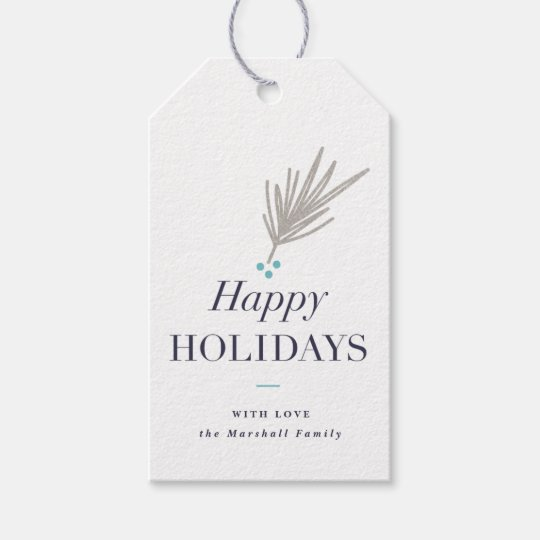 Pine branch faux foil gift tags | Pack of 10