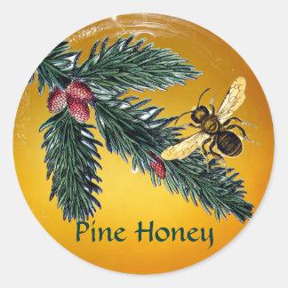 PINE BRANCHES AND HONEY BEE / BEEKEEPER BEEKEEPING STICKERS