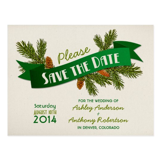Pine Branches Camping Wedding Save the Date Postcard