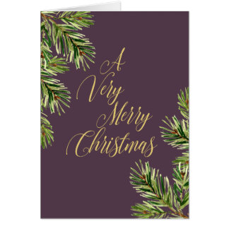 Pine Branches I Calligraphy Merry Christmas Card