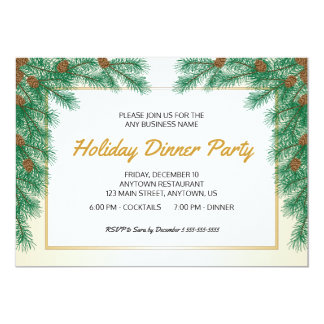 Pine Branches & Pine Cones Christmas Dinner Party 13 Cm X 18 Cm Invitation Card