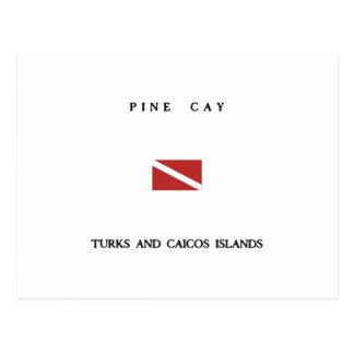 Pine Cay Turks and Caicos Islands Scuba Dive Flag Postcard