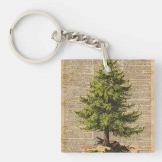 Pine,Cedar Tree,Christmas Tree Dictionary Art, Double-Sided Square Acrylic Key Ring