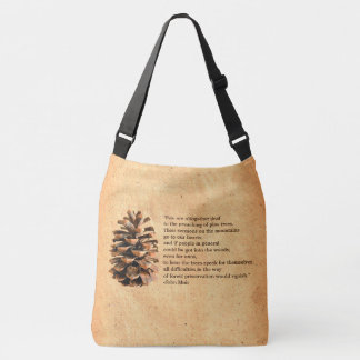 Pine Cone And John Muir Quote Tote Bag