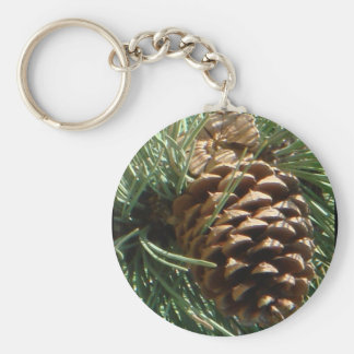 PIne Cone Art Basic Round Button Key Ring
