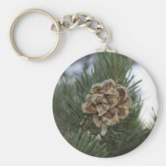 pine cone basic round button key ring