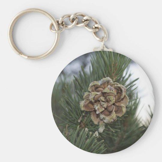 pine cone basic round button key ring