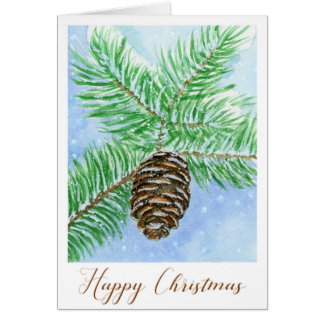 Pine Cone Happy Christmas Watercolour Card
