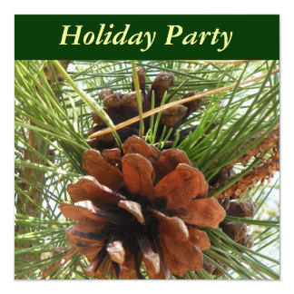 Pine Cone Holiday Party Invitation