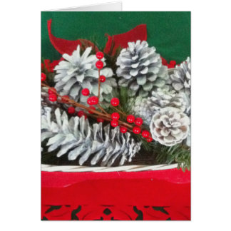 Pine Cone Holly Decoration Card