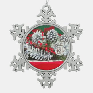 Pine Cone Holly Decoration Pewter Snowflake Decoration