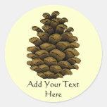 Pine cone Illustration Round Stickers