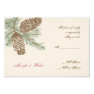 Pine Cone Nature on Cream Wedding Response Card 9 Cm X 13 Cm Invitation Card