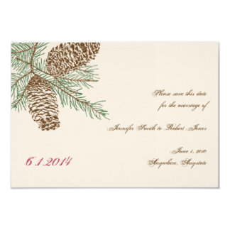 Pine Cone Nature on Cream Wedding Save the Date 9 Cm X 13 Cm Invitation Card