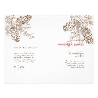 Pine Cone Nature Wedding Program 21.5 Cm X 28 Cm Flyer