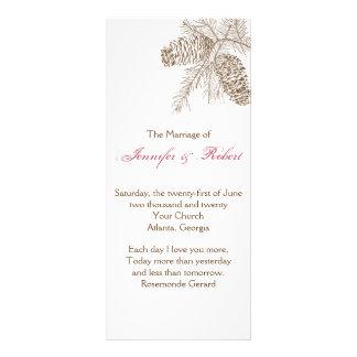 Pine Cone Nature Wedding Program Rack Card Template