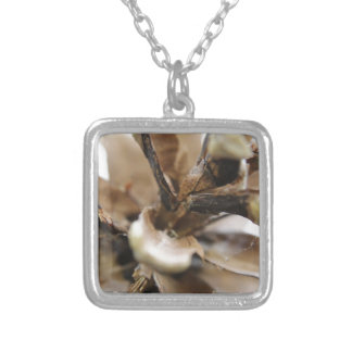 pine cone silver plated necklace