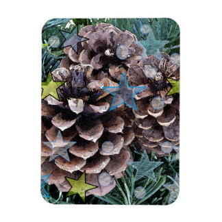 Pine Cone & Stars Photo Magnet
