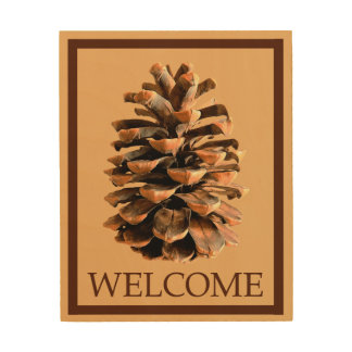 Pine Cone - Welcome Wood Canvas