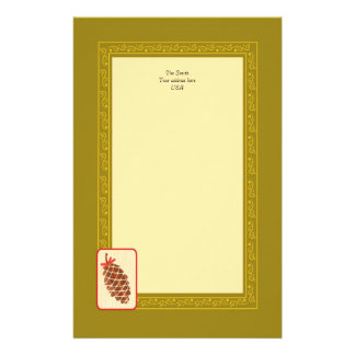 Pine cone with bow and elegant swirl stationery
