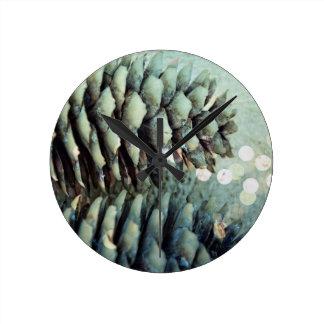Pine Cone with sparkle Round Clock