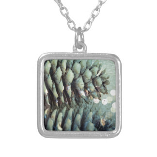 Pine Cone with sparkle Silver Plated Necklace