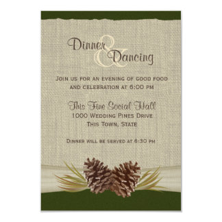 Pine Cones and Burlap Green Reception 9 Cm X 13 Cm Invitation Card