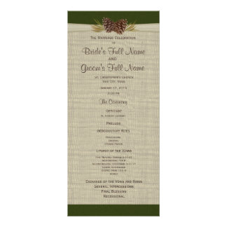 Pine Cones and Burlap Green Wedding Program Rack Card
